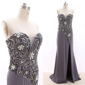 Strapless Crystals Gray Prom Evening Gown Formal